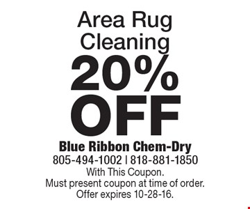 20% OFF Area Rug Cleaning. With This Coupon. Must present coupon at time of order. Offer expires 10-28-16.