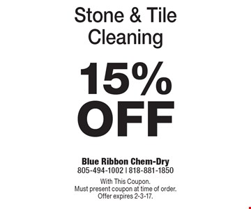 15% Off Stone & Tile Cleaning. With This Coupon. Must present coupon at time of order. Offer expires 2-3-17.