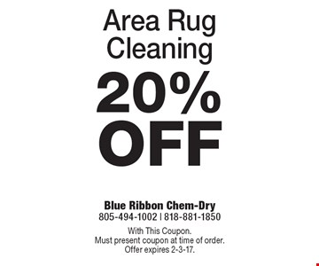 20% Off Area Rug Cleaning. With This Coupon. Must present coupon at time of order. Offer expires 2-3-17.