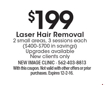 $199 for Laser Hair Removal of 2 small areas, 3 sessions each ($400-$700 in savings) Upgrades available. New clients only. With this coupon. Not valid with other offers or prior purchases. Expires 12-2-16.