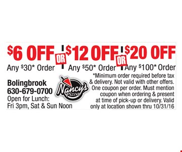 Up to $20 off your order.