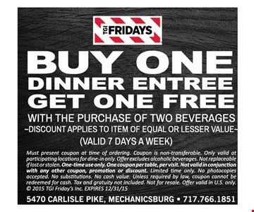 Buy One Dinner Entree Get One Free