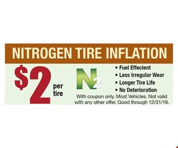 $2 per Tire Nitrogen Inflation