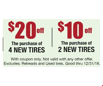 $10 or $20 Off purchase of New Tires