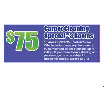 $75 Carpet Cleaning Special - 3 Rooms