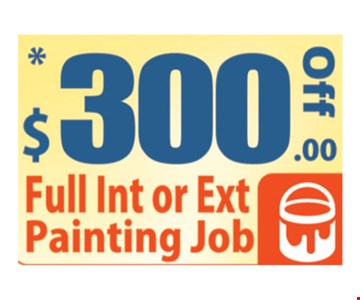 $300 off full interior or exterior painting job