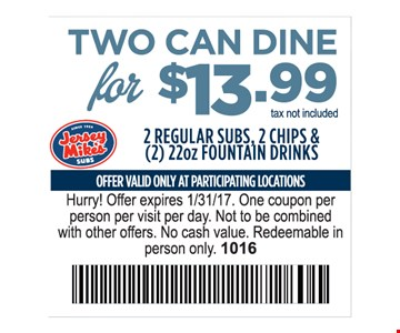 Two Can Dine for $13.99