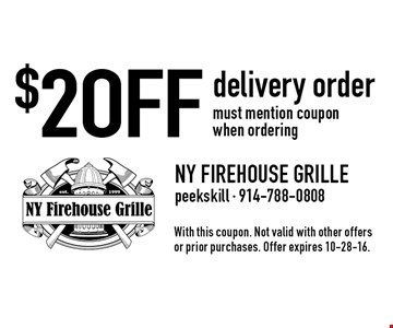 $2 OFF delivery order. must mention coupon when ordering. With this coupon. Not valid with other offers or prior purchases. Offer expires 10-28-16.