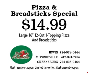 """Pizza & Breadsticks Special $14.99 Large 16"""" 12-Cut 1-Topping Pizza And Breadsticks. Must mention coupon. Limited time offer. Must present coupon."""