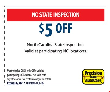 NC State Inspection $5 off
