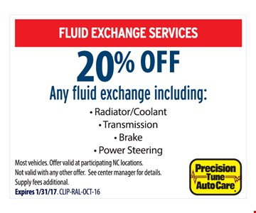 20% off fluid exchange service