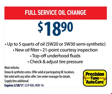 Full service oil change for $18.90