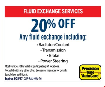 Fluid exchange services 20% off