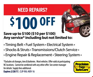 $100 off any service