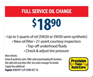 Full service oil change for $18.90.