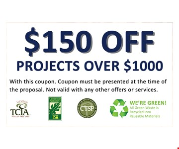 $150 off projects over $1000