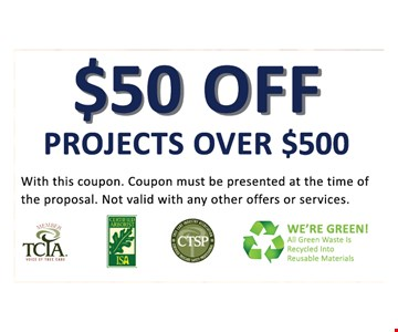 $50 off projects over $500