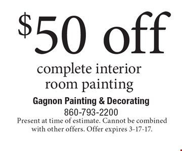 $50 off complete interior room painting. Present at time of estimate. Cannot be combined with other offers. Offer expires 3-17-17.