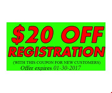 $20 Off Registration