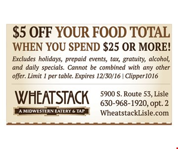 $5 off your food total