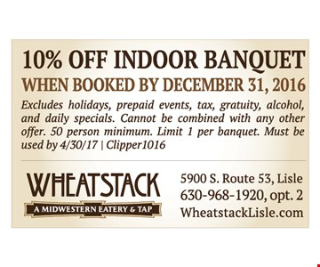 10% off indoor banquet