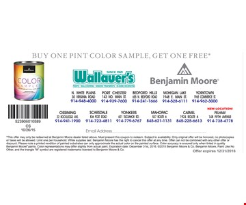 Buy one pint color sample, get one free