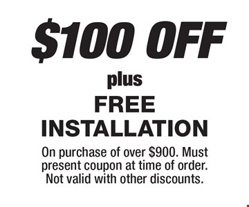 $100 OFF your cabinet purchase plus FREE INSTALLATION.