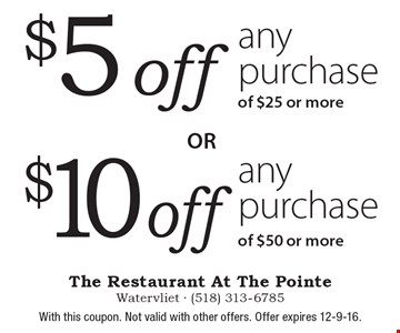 $10 off any purchase of $50 or more. $5 off any purchase of $25 or more. With this coupon. Not valid with other offers. Offer expires 12-9-16.