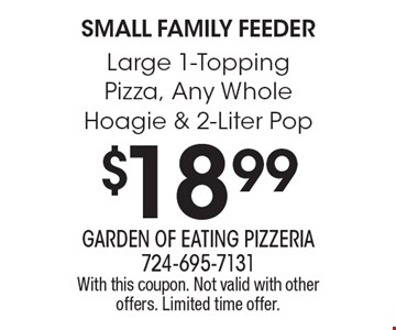 Small Family Feeder. $18.99 Large 1-Topping Pizza, Any Whole Hoagie & 2-Liter Pop. With this coupon. Not valid with other offers. Limited time offer.