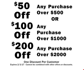 $200 Off Any Purchase Over $.20.00. $100 Off Any Purchase Over $.10.00 . $50 Off Any Purchase Over .$5.00 OR. . One Discount Per CustomerExpires 2/3/17 - Cannot be combined with other offers or discounts.