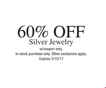 60% off silver jewelry
