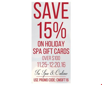 Save 15% in holiday spa gift cards