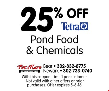 25% OFF Pond Food & Chemicals. With this coupon. Limit 1 per customer. Not valid with other offers or prior purchases. Offer expires 5-6-16.