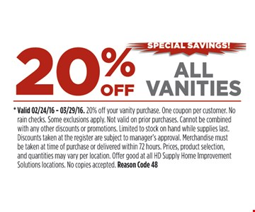 20% Off All Vanities