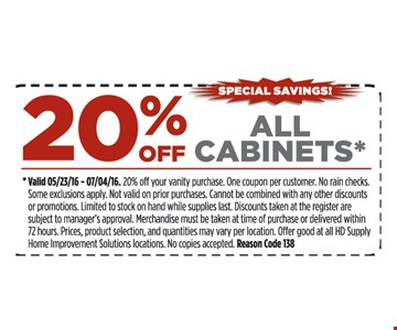 20% off all cabinets