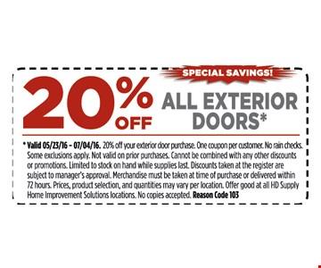 20% off all exterior doors.
