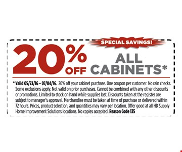 20% off all cabinets.