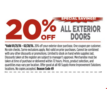 20% off all exterior doors
