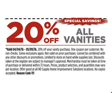 20% of all vanities