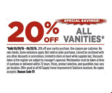 20% off all vanities