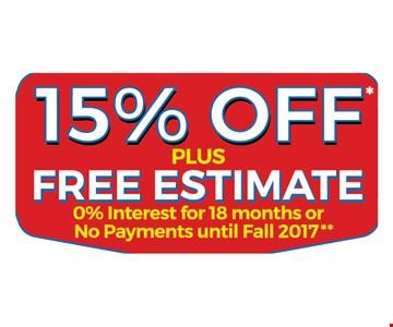 15% off plus free estimate