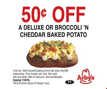 50 cents off a deluxe or broccoli n cheddar baked potato