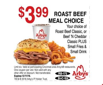 $3.99 Roast Beef meal