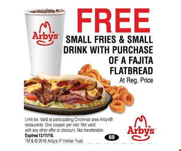 Free small fries and drink with purchase