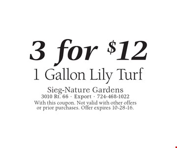 1 Gallon Lily Turf, 3 for $12. With this coupon. Not valid with other offers or prior purchases. Offer expires 10-28-16.