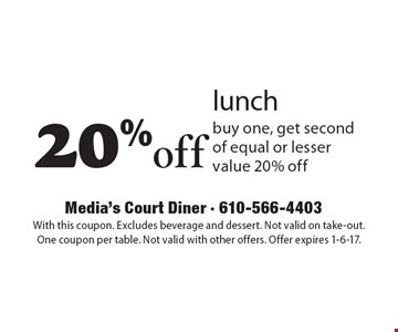 20% off lunch. Buy one, get second of equal or lesser value 20% off. With this coupon. Excludes beverage and dessert. Not valid on take-out. One coupon per table. Not valid with other offers. Offer expires 1-6-17.