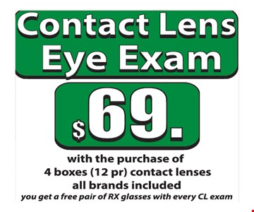 contact lens eye exam $69 w/ purchase of 4 boxes