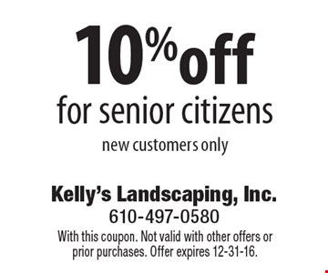 10%off for senior citizens, new customers only. With this coupon. Not valid with other offers or prior purchases. Offer expires 12-31-16.