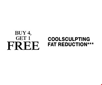 Coolsculpting fat reduction*** Buy 4, get 1 free. Cannot be combined with any other coupons, specials, promotions or prior purchases. Expires 12-9-16.