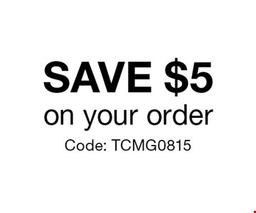 Save $5 on your order. Code: TCMG0815.